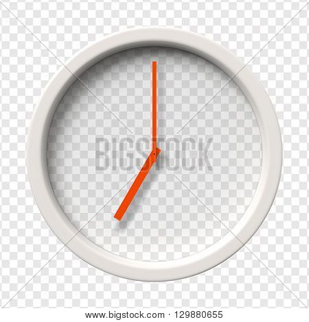 Realistic Wall Clock. Seven o'clock am or pm. Transparent face. Red hands. Ready to apply. Graphic element for documents, templates, posters, flyers. Vector illustration