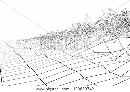 Black grid waveform 3d on white background.