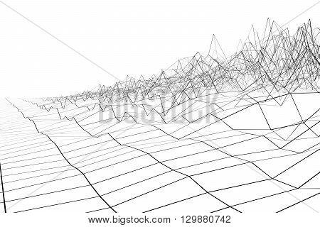 Black grid waveform 3d on white background.