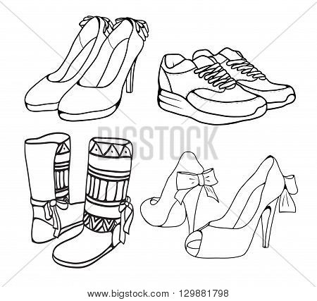 Set of various doodle outlines of women's shoes. Vector element for your creativity