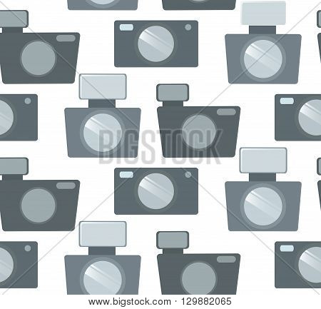 Seamless pattern with flat camera in row. Vector background for your creativity