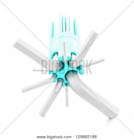 Hex key, iron tool for fix, isolated, on white background