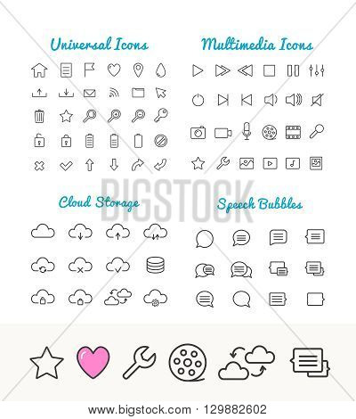 Vector linear thin icons set for web and application interface. Cloud storage, speech bubles, multimedia and universal web icons. App icons set. Universal thin Icons for web and mobile. Web icons set