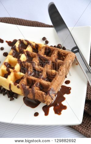 Two tone waffle with chocolate sauce on white plate