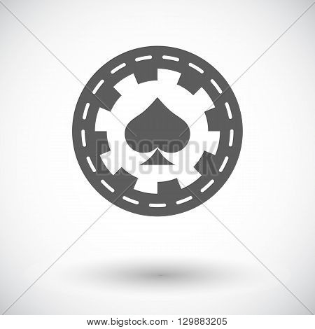 Gambling chips. Single flat icon on white background. Vector illustration.