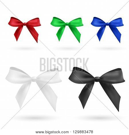 red, green, blue, black and white bow isolated on white vector