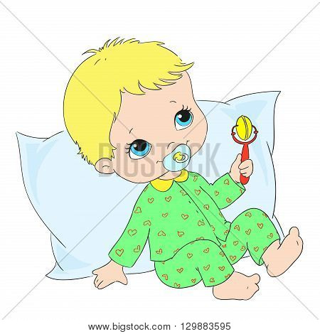 Cute baby character. Toddler in sleepwear. Vector illustration