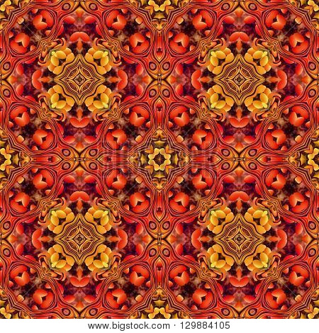 Computer generated illustration with red abstract kaleidoscope pattern.