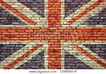 United Kingdom flag on wall brick background