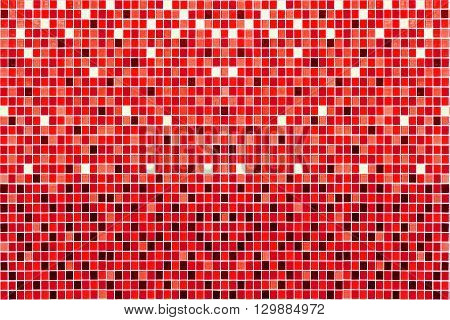 Red mosaic background. Colorful mosaic on the wall.