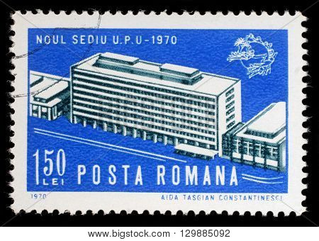 ZAGREB, CROATIA - JULY 18: a stamp printed in the Romania shows Opening of UPU Headquarters, Bern, circa 1970, on July 18, 2012, Zagreb, Croatia