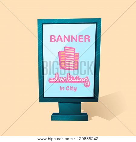 Street advertising billboard, realistic urban stand, banner advertising  in city , vector template illustration