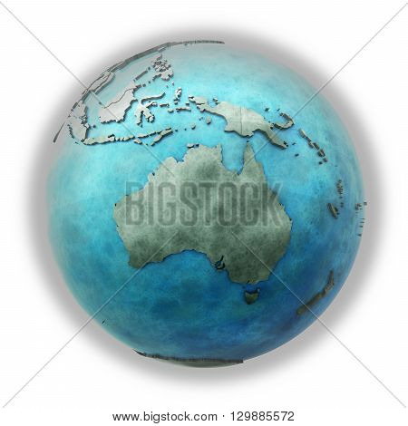 Australia On Marble Planet Earth
