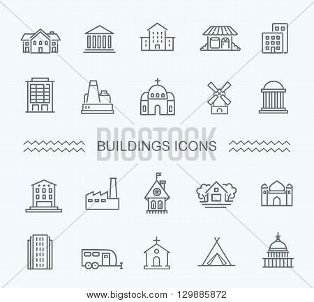 Building Icons Government building icons set of museum, library, theater isolated vector illustration set, government