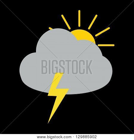 Thunder storm cloud with sun behind icon on black background