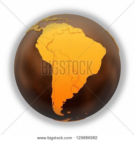 South America On Chocolate Earth