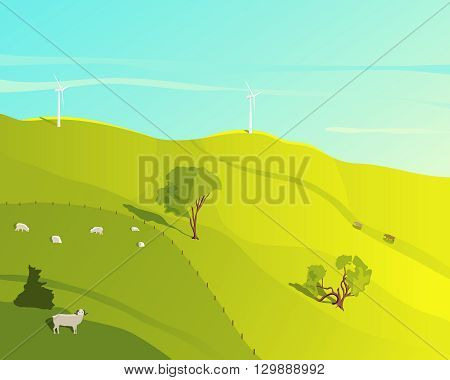 Rural landscape. Landscape with green meadow and grazing sheep on a summer day. Wind farm. Cartoon farm field. Farmer field. Ecology environmental background. Farm domestic animals. Natural concept