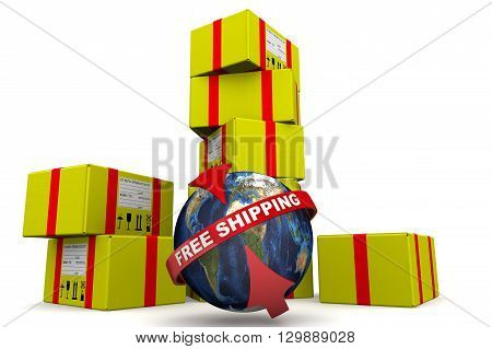 Free shipping. Concept. Many of yellow parcels and a globe with inscription