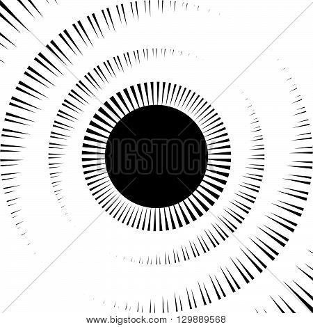 Asymmetric Radial, Radiating, Irregular Lines. Abstract Geometric Illustration.