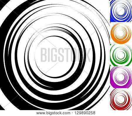 Monochrome Background Set With Random Concentric Radial Circles