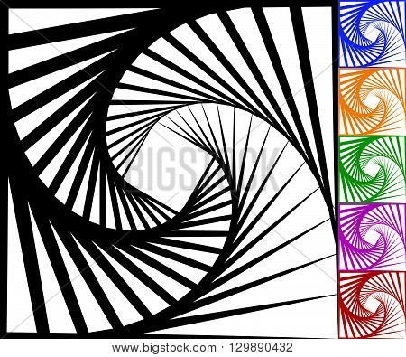 Abstract Background Set With Concentric Rotating Contour Lines.