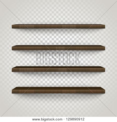 Empty shelves on trabsparent background vector illustration. Template for a content