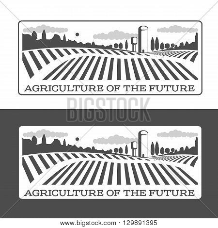 Farm field labels set of logos farming, field with a barn, land and trees, badges with fields farm badges isolated on white and black background