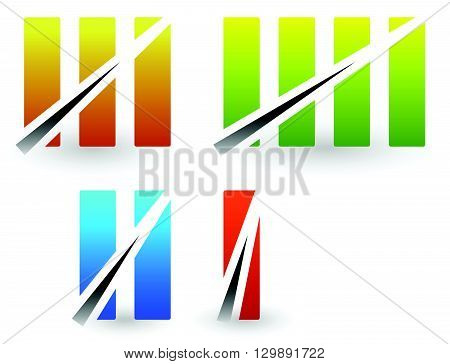 Colorful Roman Numbers, Roman Numerals With Strike Through Lines.