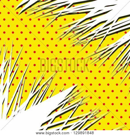 Sharp, Edgy Abstract Shape Over Popart, Polka Dot, Dotted Dutone Pattern With Shadow. Spiky Element
