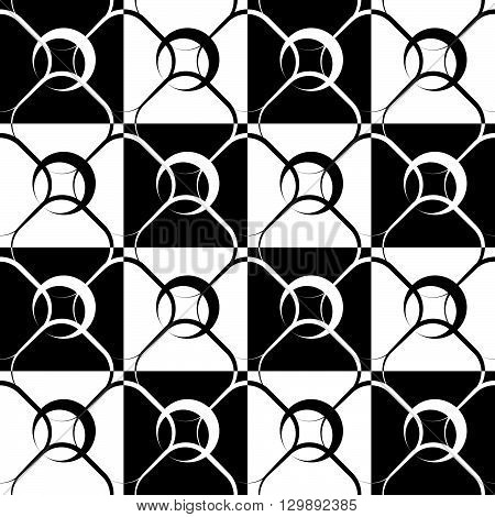 Seamlessly Repeatable Geometric, Monochrome Pattern With Rounded Shapes, Circles