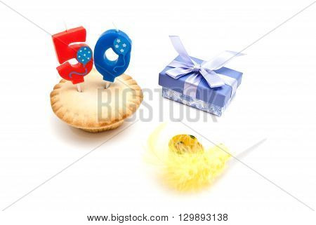 Cupcake With Fifty Years Birthday Candle, Gift And Whistle