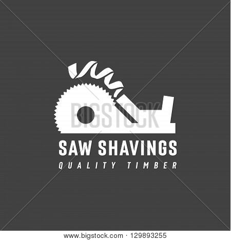 Plane Abstract circular saw with Drive in and departing shavings modern logo vector illustration of a flat style art