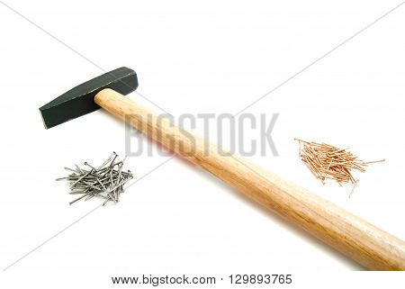 Hammer And Piles Of Nails