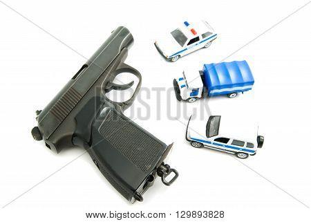 Gun And Police Cars