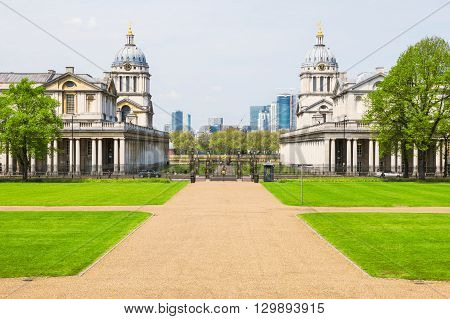 View of The University of Greenwich from Queen's House in London UK