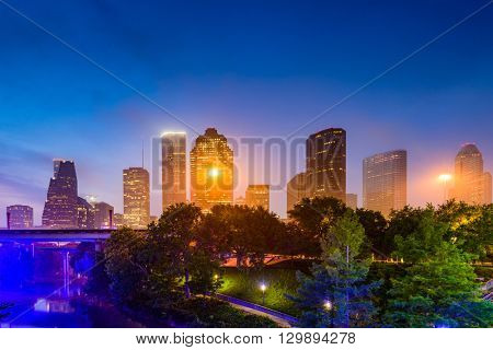 Houston, Texas, USA misty morning skyline.