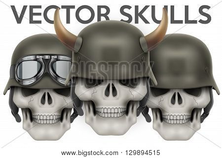 Biker symbols of Human skulls with German helmet and horns. Vector Illustration isolated on a white background