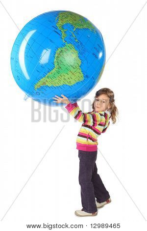 little girl standing and holding big inflatable globe over her head, side view, isolated on white