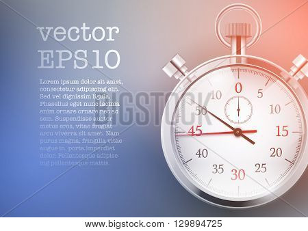 Background with analog stopwatch. Trendy tone light and color. Motivation workout sport design. Vector illustration