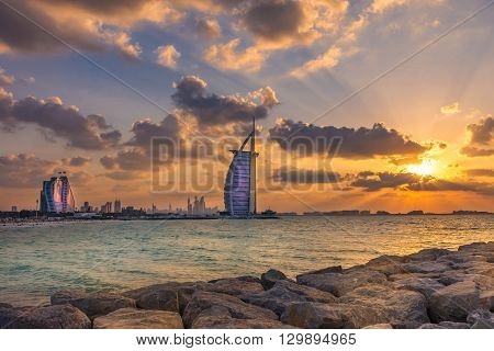 Burj Al Arab And Jumeirah Beach Hotel At The Sunset