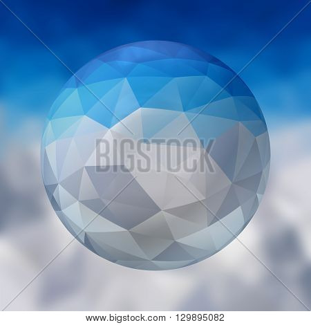 glass sphere with polygon pattern on blurred background - winter blue and white colored