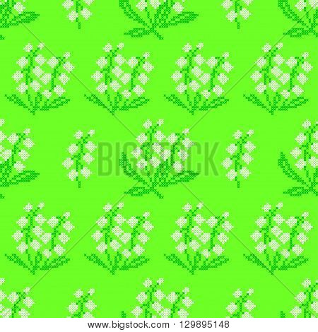 Seamless texture of abstract flat green white flowers.Lily of the valley