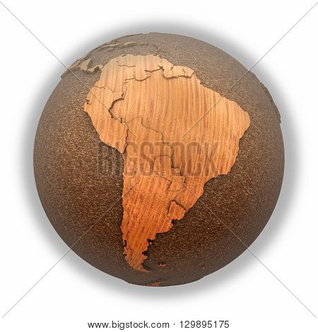 South America On Wooden Planet Earth