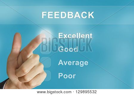 business hand clicking feedback button on screen