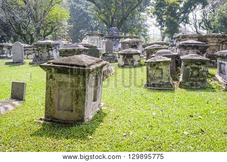 Cemetry With Trees In George Town, Penang, Malaysia