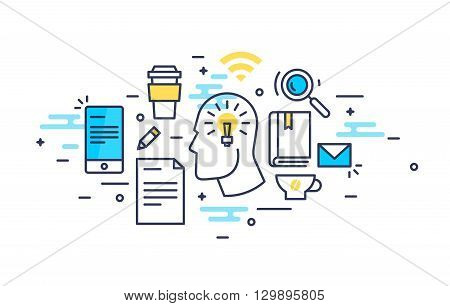 Abstract line art thinking of an idea man with gadgets and equipment illustration