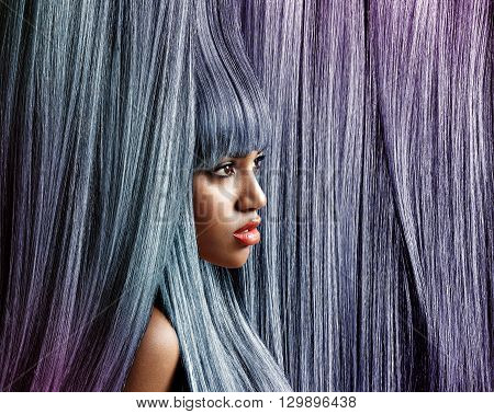 Woman's Profile In Trendy Colour Hair Background