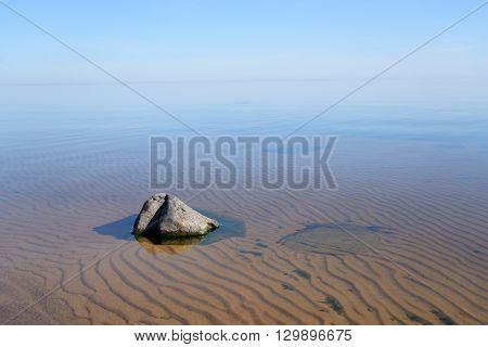 The photo of Ladoga lake at sunny morning.