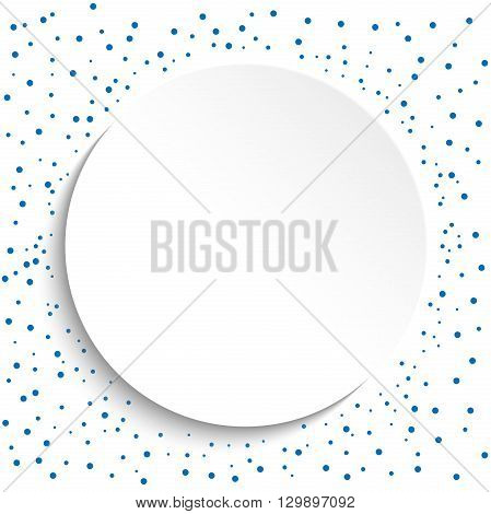 Fine frame with blue dots and volume circle. Fine greeting card