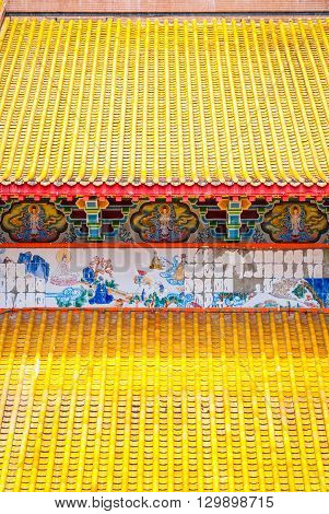 Close Up Of Yellow Roof At Kek Lok Si Temple